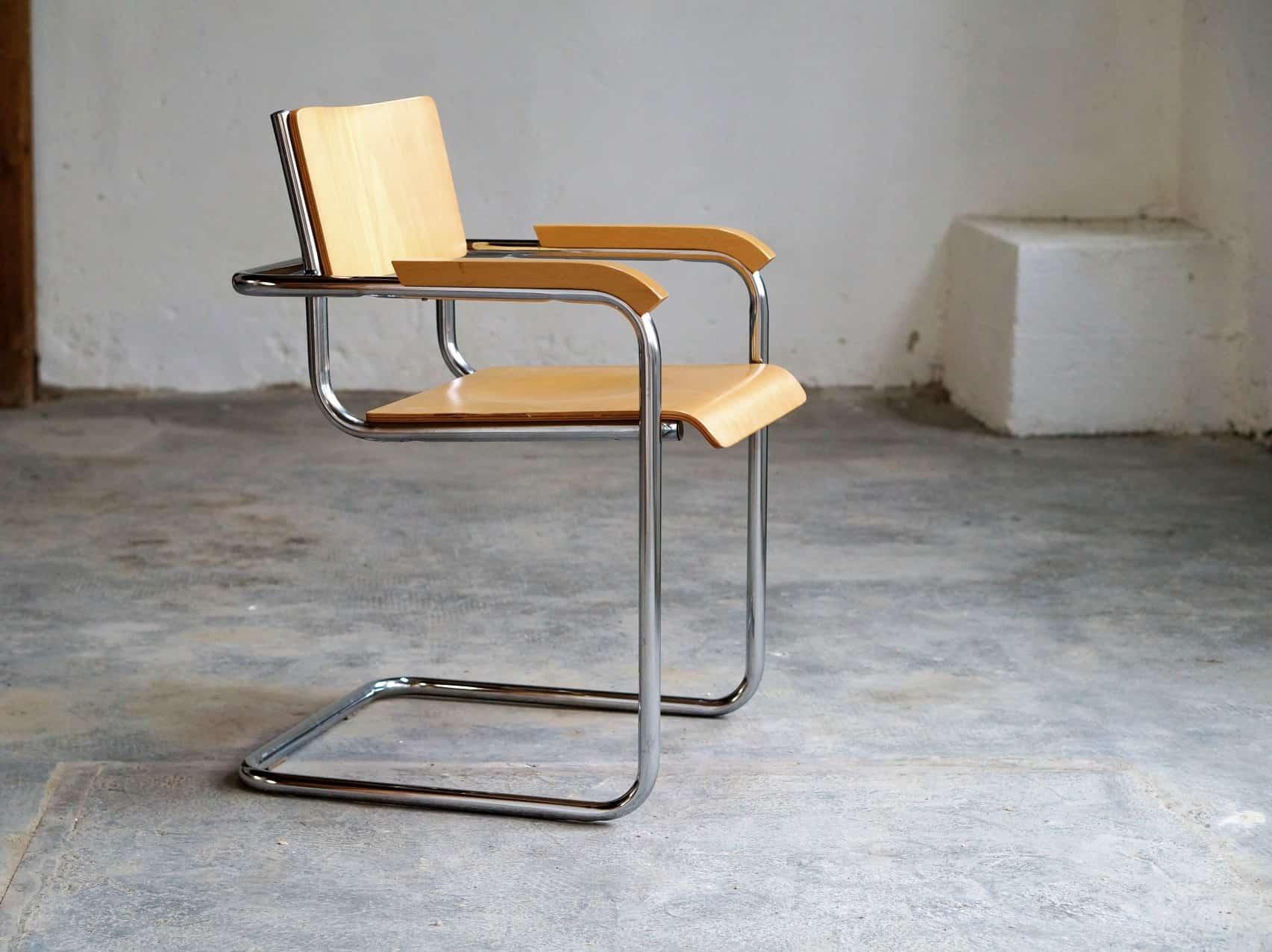 Freischwinger Stuhl Stahlrohr Armlehnstuhl Im Bauhaus Stil 60er 70er Zeitflair